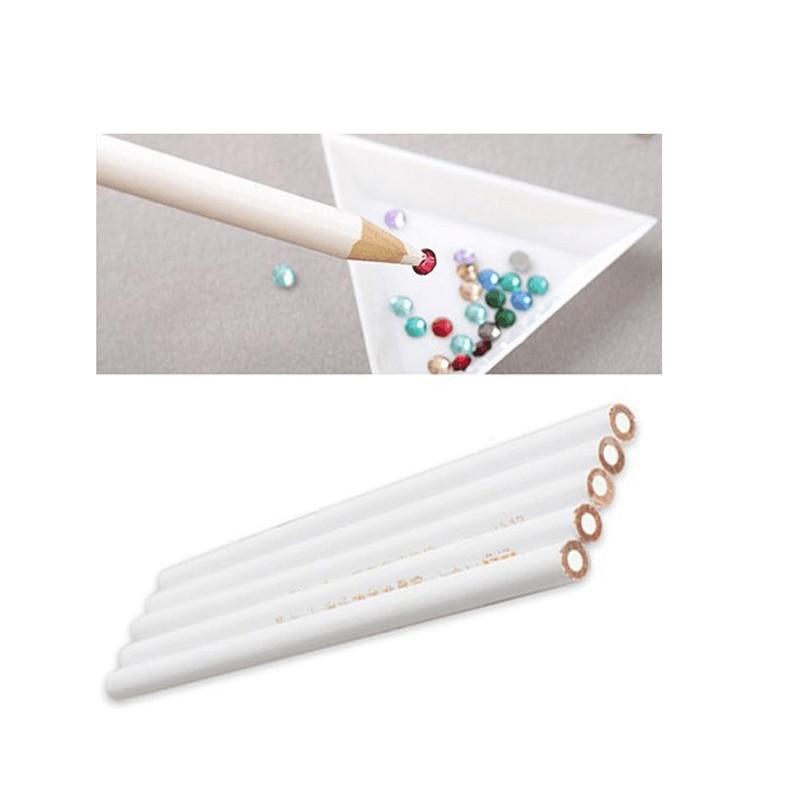 5pcs Rushed New Nail Polish Rhinestones Picker Pencil Art Gem Jewel Setter Pen Pick Up Tool Wax Crystal