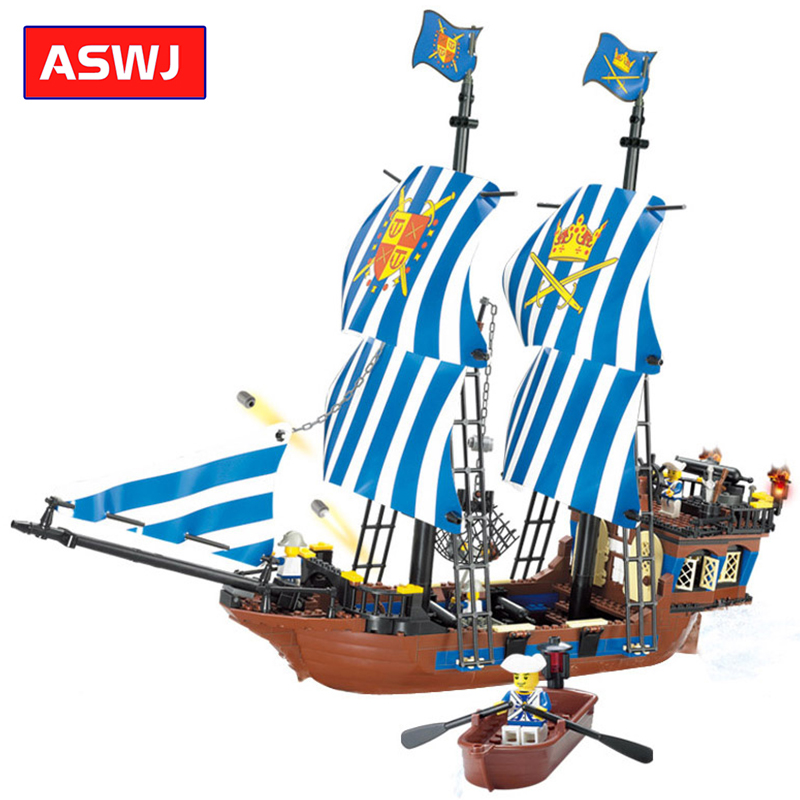 Military Pirates Navy Headquaters Building Blocks Compatible Legoes Bricks Ship Weapon Educational Model Toys Kids Birthday Gift