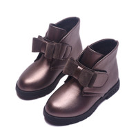 2016 Autumn Winter Kids Boots PU Leather Girls Shoes Children Snow Slip Resistant Fashion Martin Boots