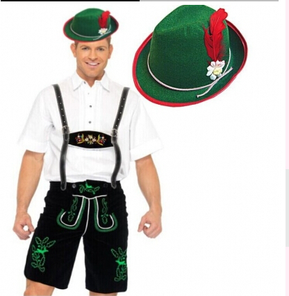 2015 walson HB-356 M-XL Hot Sale Green Men's Oktoberfest Costume With Hat Good Quality German Male Beer Costumes