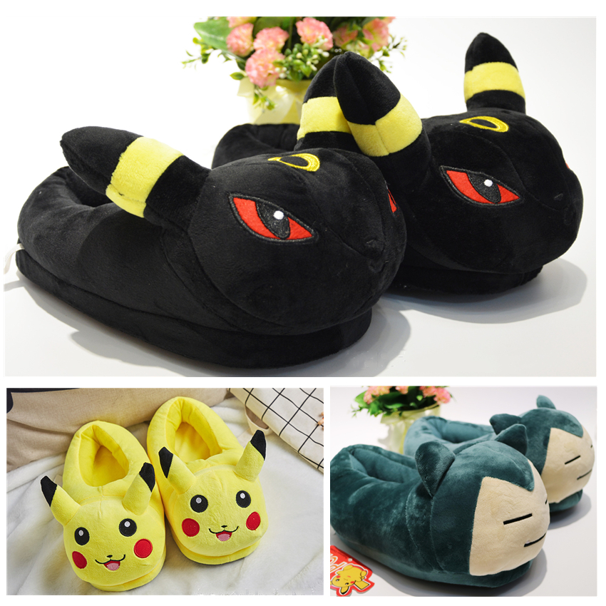Anime Pokemon Cotton Pajama Shoes Kids Adult Pikachu Umbreon Winter Keep Warm Plush Slippers Children Home Indoor Slippers