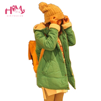 Asian Fashion Korean Style Cotton Padded Women Winter Jackets Green Thick Woolen Ladies Coat Orange Cute Warm Jackets With Cape