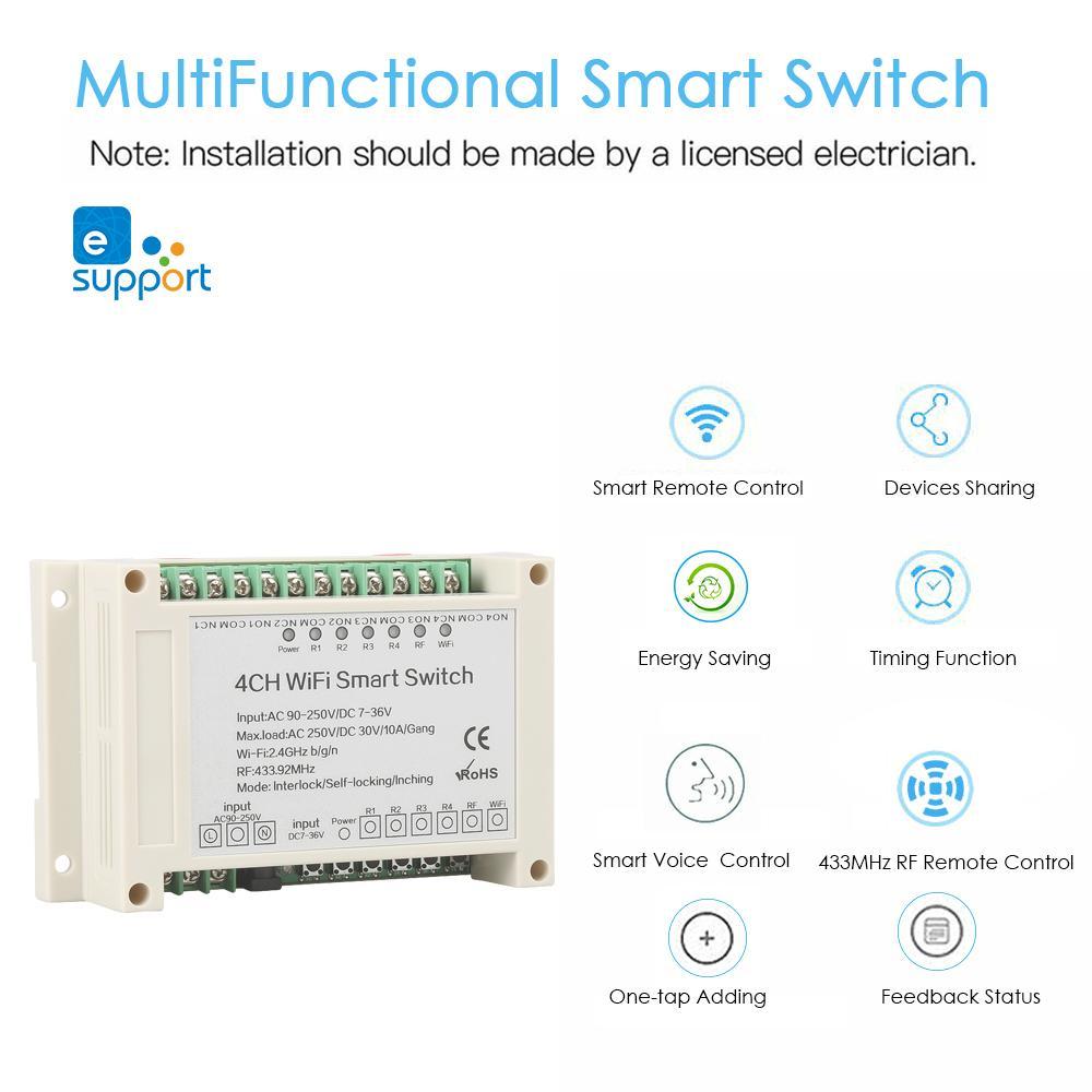 AC DC Wifi Smart switch domotique 4 Gang interrupteur APP Télécommande Amazon Alexa Google Maison 433 MHz RF À Distance contrôle