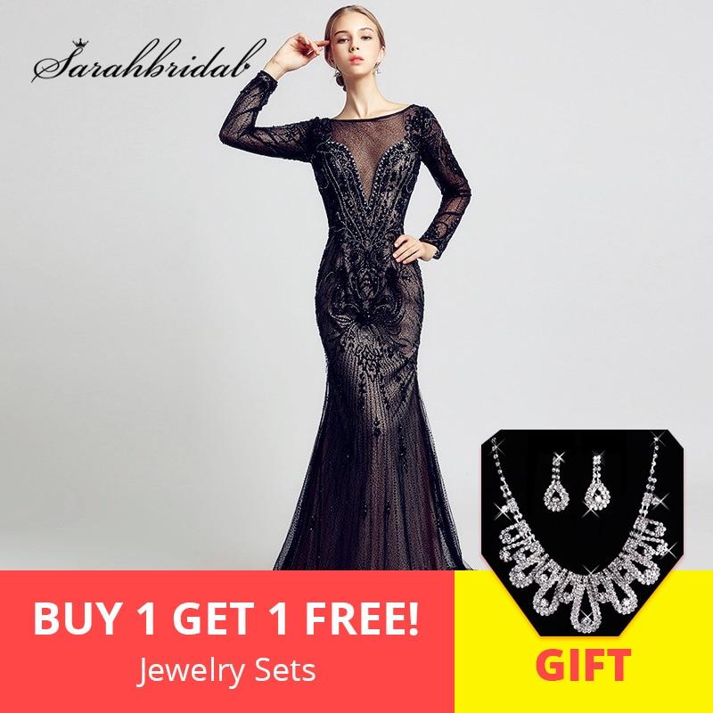 0a31ba0e2 Lujo negro manga larga noche Vestidos con lleno de abalorios de cristal de  tul sirena vestido de Prom Video Real vestidos fiesta OL366 en Vestidos de  noche ...