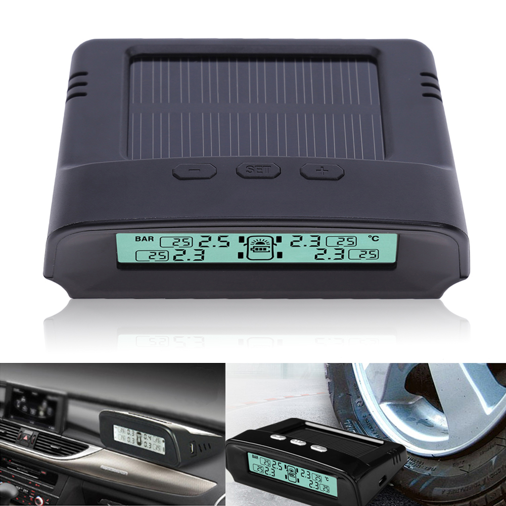 New TPMS Car Tire Pressure Monitoring System Solar Energy LCD Color Display 4 External Sensor Auto Alarm System Car electronics solar car tpms tire pressure monitoring system 4 external sensor auto alarm system wireless car pressure monitor lcd display
