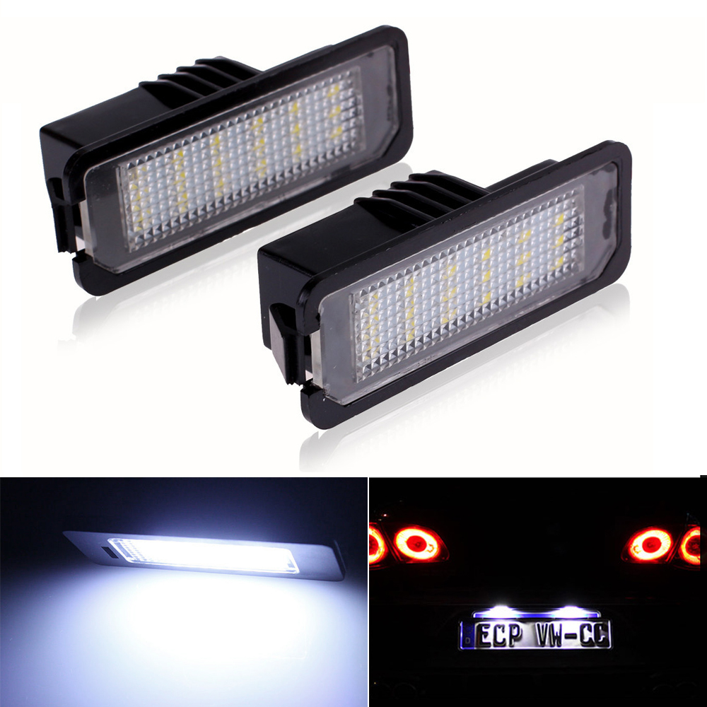 2Pcs LED License Plate Lights SMD3528 Number Plate Light For <font><b>VW</b></font> <font><b>Golf</b></font> <font><b>GTI</b></font> <font><b>5</b></font> 6 Passat Phaeton New Beetle CC For Porsche image