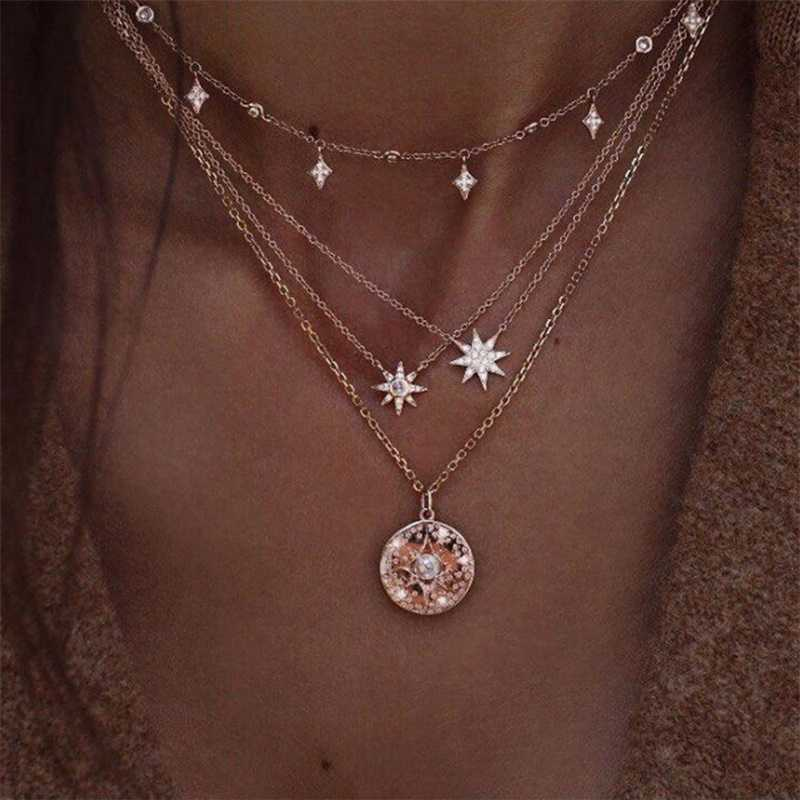 FAMSHIN Bohemian Multi layer Pendant Necklaces For Women Fashion Golden Geometric Charm Chains Necklace Wholesale Jewelry New