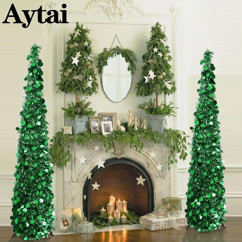 aytai artificial tinsel pop up christmas tree bling sequins christmas tree christmas decorations for home new year decoration in trees from home garden on