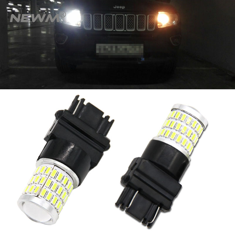 Xenon White 57-SMD 3157 3357 3457 4114 3156 T25 LED Bulbs For 2011-up <font><b>Jeep</b></font> <font><b>Compass</b></font> For Daytime Running Lights image
