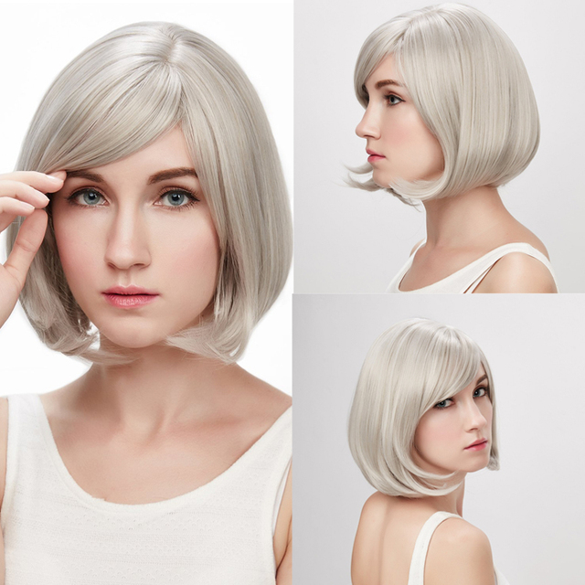 Short grey silver heat resistant synthetic wigs
