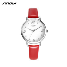 SINOBI Ladies Luxury Wrist Quartz Watch Red Leather Rose Gold Women Fashion Wristwatches Automatic Designer Watches
