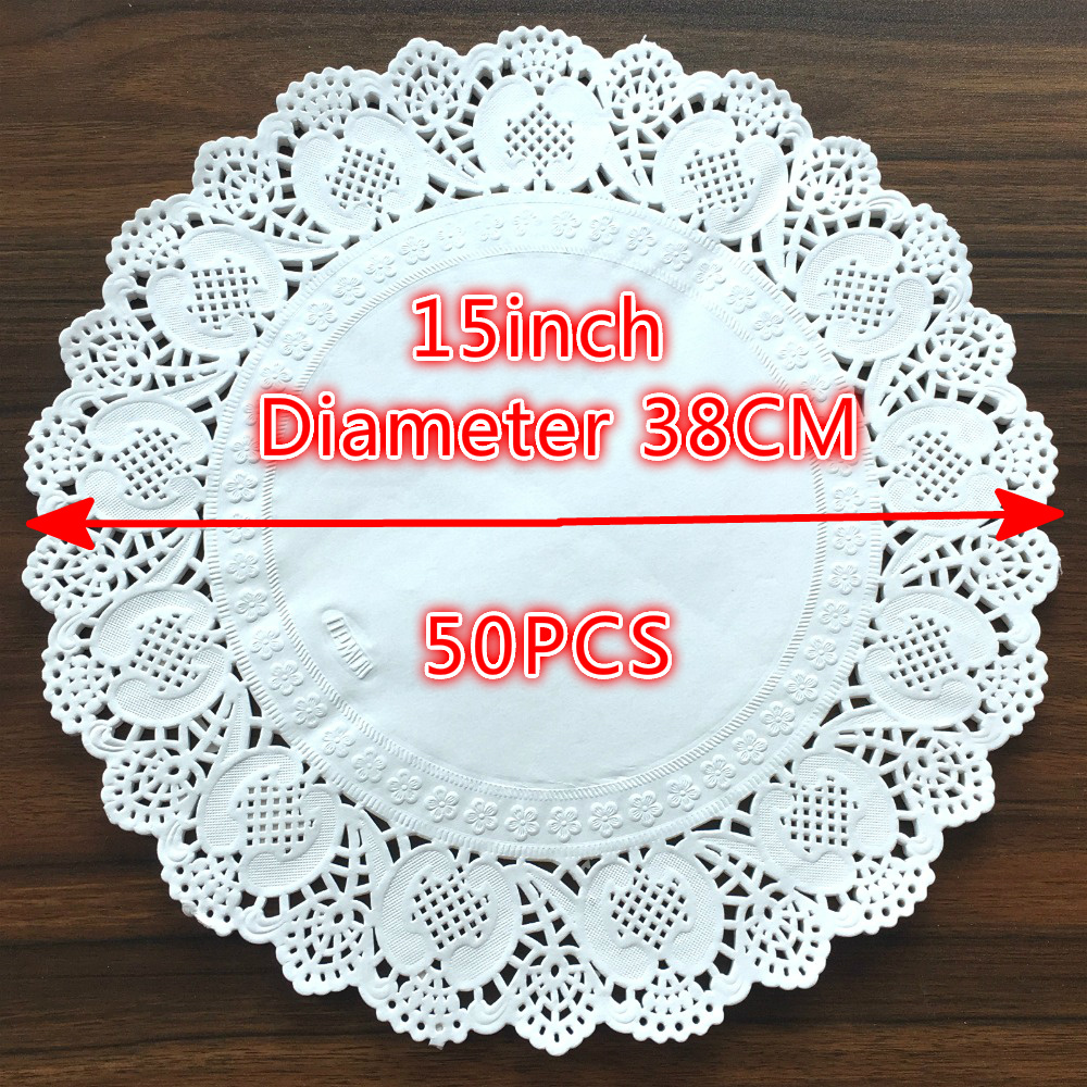 50Pcs 15inch White Round Lace Paper Doilies Craft Doyley Coasters Placemat Wedding Christmas Table Decoration in Mats Pads from Home Garden