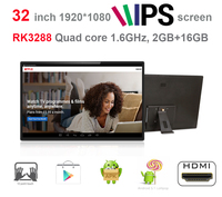 Updated 32 Inch IPS Android Smart Tv KIOSK Advertising Player All In One Pc RK3288 Quad
