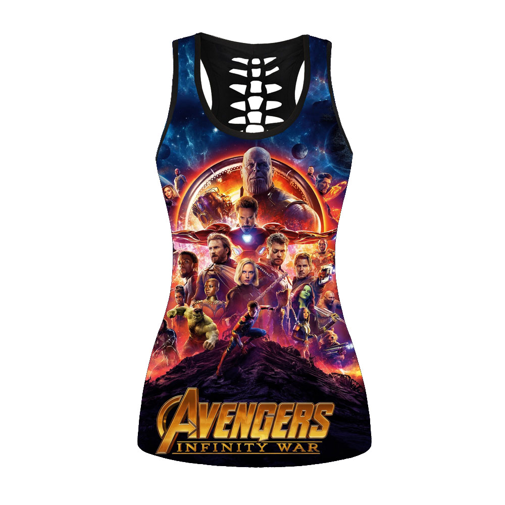 New 3D Print Tank Tops Women Back Hollow Sexy Black Vest Avengers: Infinity War Printed Sleeveless Casual Fitness Gyms Tops