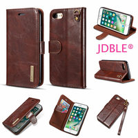 JDBLE Luxury Flip Stripe Adsorption Cover For IPhone7 8 8Plus Cases Real Genuine Leather Vintage Wallet