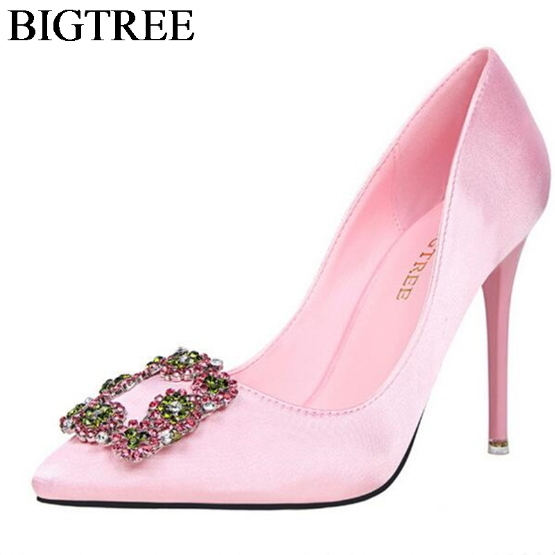 BIGTREE Party Womens Pink Heels Pointy Toe Stiletto Fashion Rhinestones Buckle Wedding Shoes Silk Satin High Heeled Pumps 10cm
