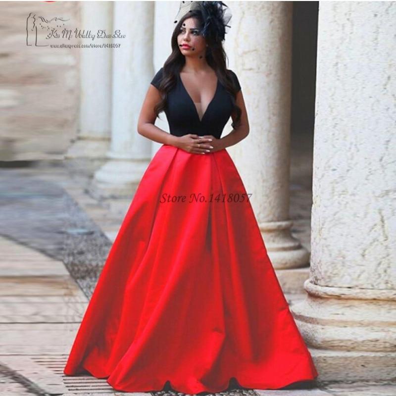 Robe De Soiree Courte African Formal Dresses Red Black Long Evening
