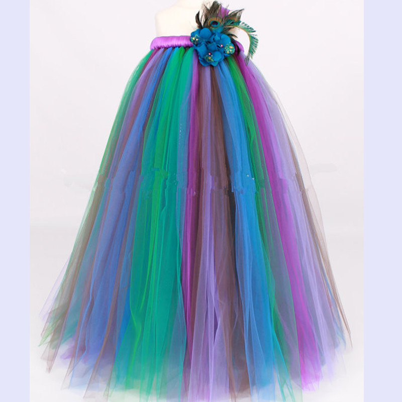 Girls Party Dress Cosplay Peacock Princess Tutu Dress Children Host Pageant Tulle Dress Ball Gown Kid Birthday Halloween Costume аксессуары для косплея cosplay