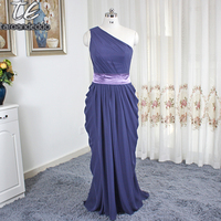 New Arrival Maid Of Honor Dresses Gray One Shoulder Chiffon Long Cheap Bridesmaid Dresses Women Evening