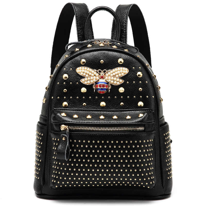 2018 new arrival premium bee backpack women s fashion stud rivet travel bags  collage girl s fashion functional 45d7eeeedae7