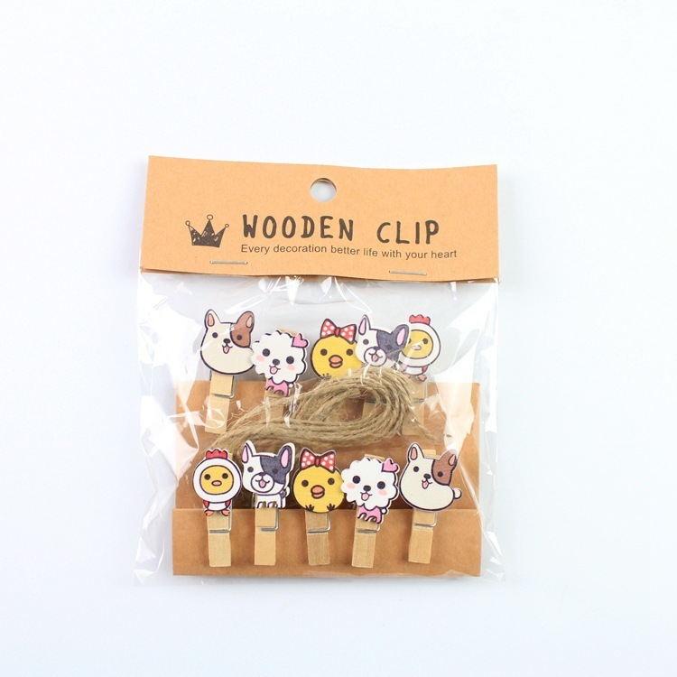 10 Pcs/Lot Cute Puppy Dog Wooden Clip Photo Paper Clothespin Craft Clips Party Decoration Clip With Hemp Rope