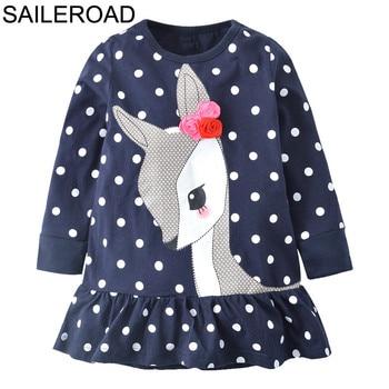 SAILEROAD New Christams Deer Dot Pattern Baby Kids Girls Tees Dress Autumn Children Girl's Dresses For Child Garments Clothing