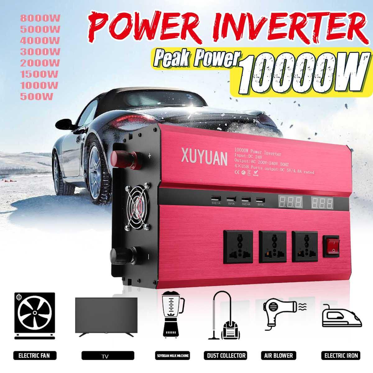 3000-10000W  Car Power Inverter USB DC12/24V To AC110V/220V Sine Wave Converter Voltage Transformer Charger Solar Inversor