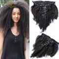 7А Афро Кудрявый Клип В Наращивание Волос Бразильский Наращивание Волос Afro Kinky Вьющиеся Клипы В Необработанные Девственных Человеческого Волоса