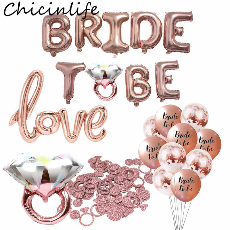 Chicinlife 1Set Bride To Be Foil Balloon Bachelorette Party Bridal Shower Hen Night Diamond Ring Balloon Wedding Decor Supplies