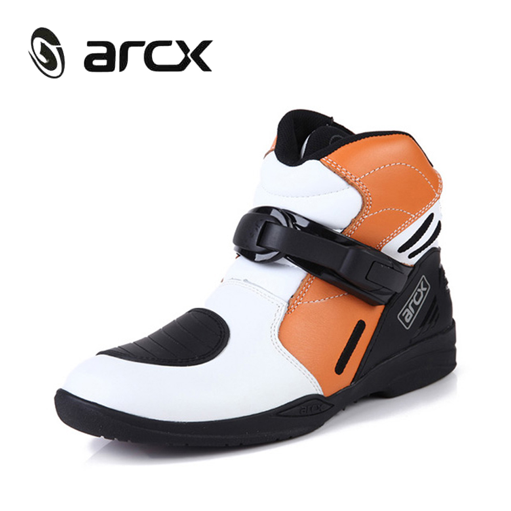 ARCX Motorcycle Riding Ankle Boots Genuine Cow Leather Street Moto Chopper Cruiser Touring Biker Motorbike Road Racing Shoes off road lightweight breathable motorcycle road racing shoes boots genuine pro biker motorcycle riding boots