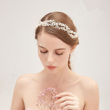 SLBRIDAL Wired Silver Clear Crystal Rhinestone Pearls Wedding Hair accessories Vine Hairband Bridal Headband Women Jewelry