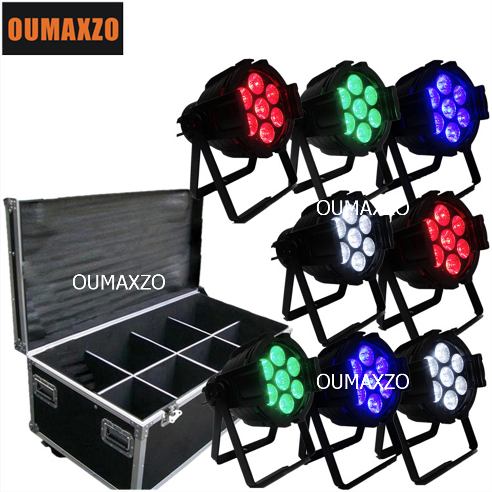 8pcs/lot&flight case 7pcs*10w Rgbw Colorful Flat Led Par Can Slim Par 64 Wedding Lighting par 7*10W RGBW stage par light [wamami] 10 black lace pants stockings 1 6 sd aod dod dz bjd doll dollfie