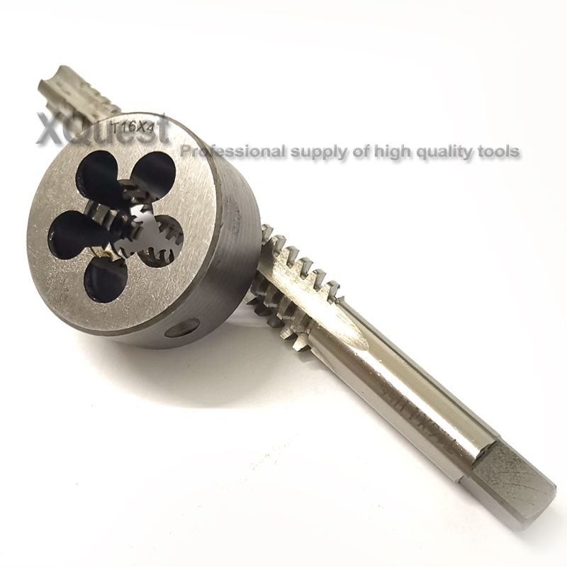 2PCS Metric Trapezoidal Thread Tap And Die Set Tr16 T16 TR16X2 TR16X3 TR16X4 Left Hand Taps Right Round Dies T16X2 T16X3 T16X4