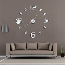 1 Buah Kopi Diy Waktu Besar Numer Jam Dinding Kopi Raksasa Jam Dinding  Modern Desain 3D Cermin Stiker DIY dinding Besar Watch afda81b21b