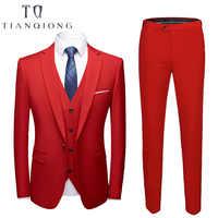 Latest Coat Pant Designs 2018 Fashion Men's Casual Business Suit 3 Pieces Set /Men's Suits Blazers Trousers Pants Vest Waistcoat
