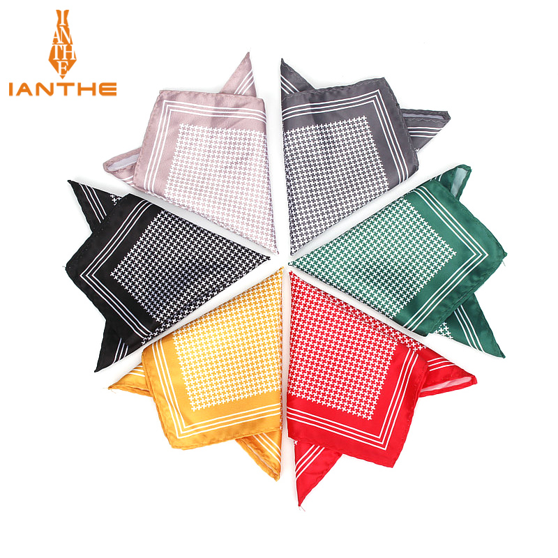 Men's Handkerchief Vintage Thousands Birds Pocket Square Soft Silk Hankies Wedding Party Business Hanky Chest Towel Gift 24*24CM