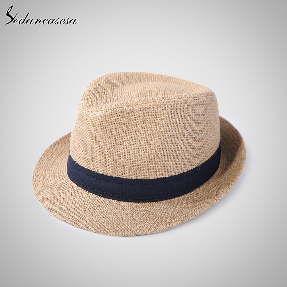 c9d9d74ace0 Fashion men fedora straw hats for women man holiday beach summer sun hat  unisex linen trilby Caps Sombreros Hombre Verano cool-in Sun Hats from Men s  ...