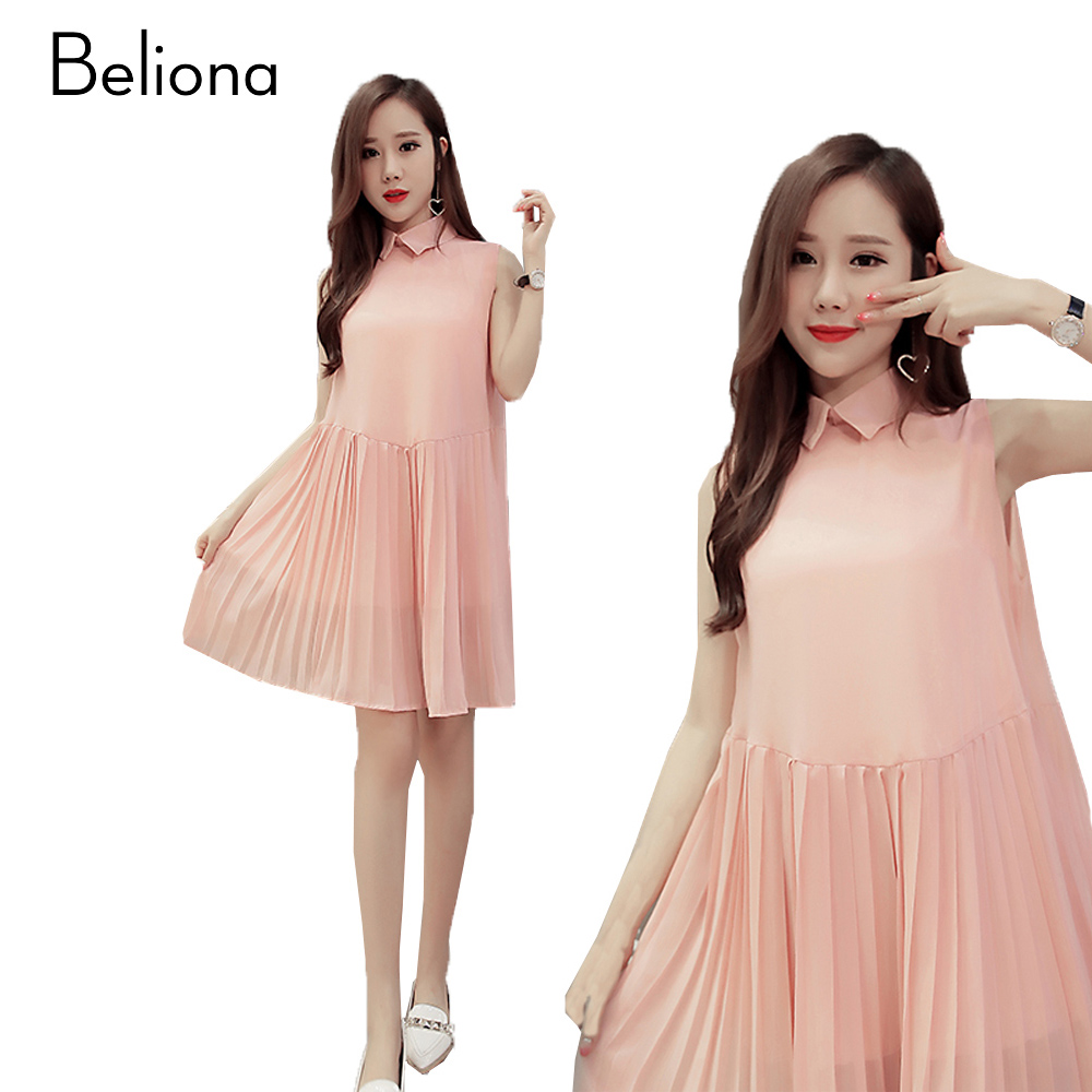 Maternity dress pink promotion shop for promotional maternity pink pleated maternity dress turn down collar pregnancy clothes sleeveless maternity clothing for pregnant women 2017 summer ombrellifo Image collections