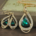 Fashion Women New Gold Plated Red/Clear/Sapphire/Emerald Austrian Crystal Teardrop Pendant Necklace Earrings Jewelry Sets