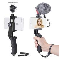 Cellphone Video Rig Audio Recorder Microphone w/ Windshield Furry Hand Grip Stabilizer for iPhone XS MAX XR 6 5 Huawei P30 P20
