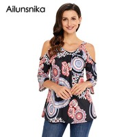 Ailunsnika 2018 New Arrival Summer Women S Sexy Casual Shirt White Dark Boho Print Half Sleeve