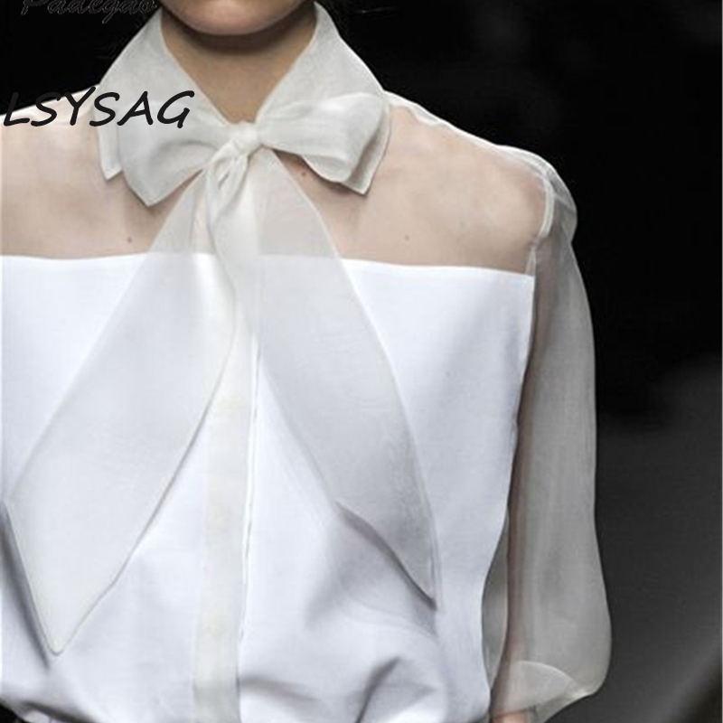 Femmes Vêtements Bts Tops Lsysag Travers Translucide White Mode Blouse Bowknot Élégante 2018 Blanche Manches Gaze Voir Chemise Longues À Revers 1txFqUdx