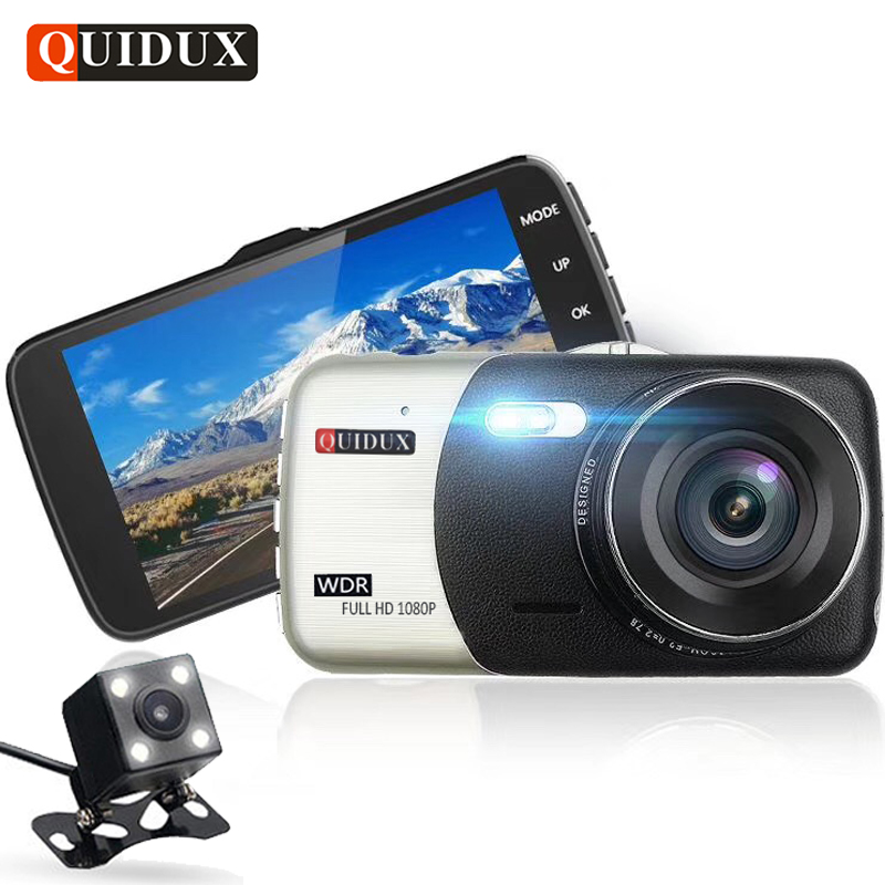 QUIDUX 4.0 inch Full HD 1080P Car DVR with Rear Camera Digital Auto Video Recorder Player WDR Dashcam Registrator G-Sensor