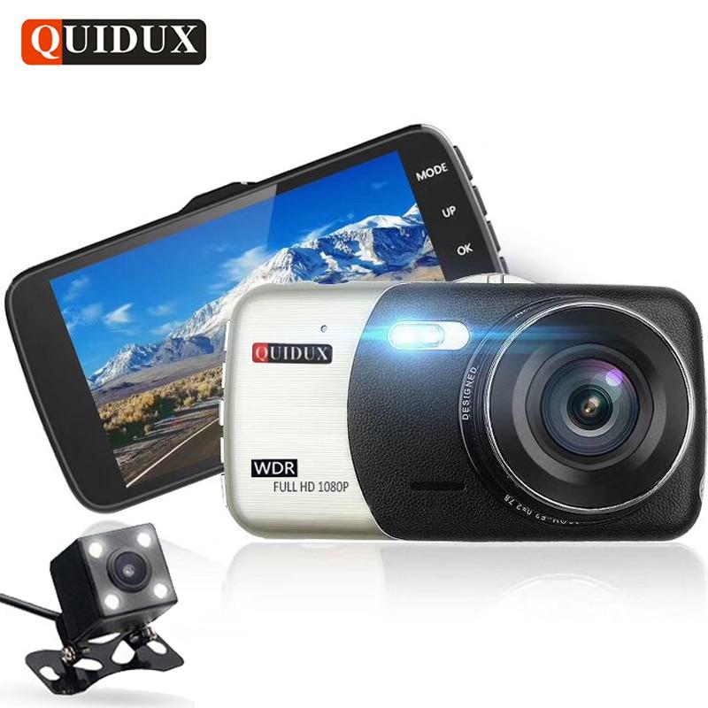 QUIDUX 4.0 pollice Full HD 1080 P Dell'automobile DVR con Telecamera Posteriore Video Recorder Lettore Digitale Auto WDR Dashcam Registrator G-Sensor
