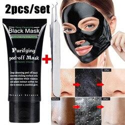 2 mascarilla facial unids/set removedor de espinillas limpieza profunda exfoliante de acné negro mascarilla facial cuidado de la nariz acné removedor