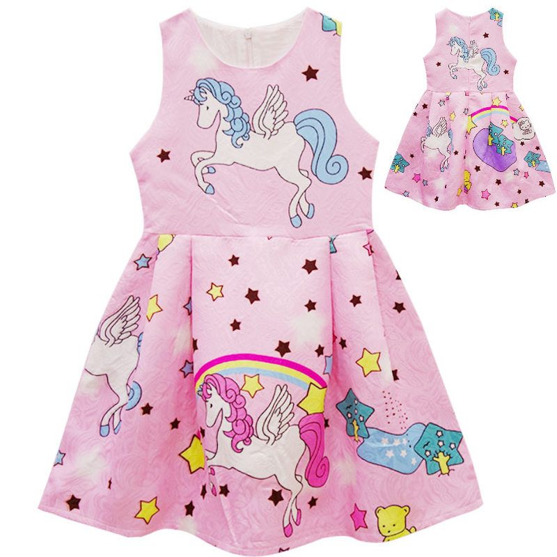 Unicorn Girls Vestido Summer Dress Kids Pig Clothes 2018 Baby Shark Girl Dress with Robe Fille Princess Dress Children Clothing