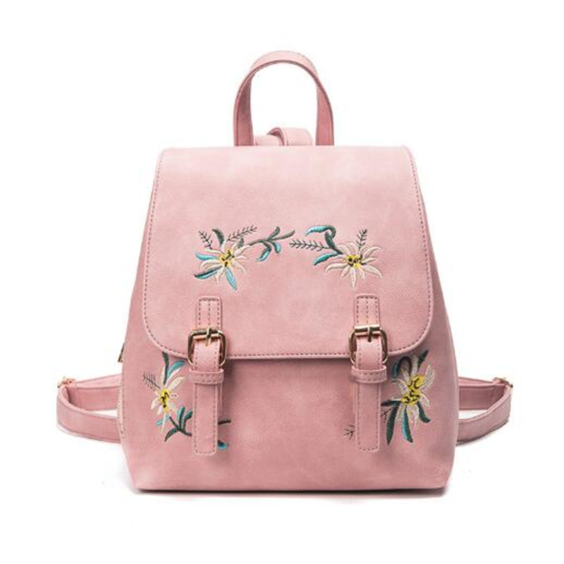 2017 Women's Leather Backpack Women's Backpack Girl Backpack Flower Embroidered Flower Backpack