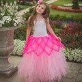 Tutú de la Muchacha de los niños Pink Mermaid Desfile del Vestido del Tutú de Hadas de La Mariposa de Halloween Foto TS094 del Vestido de Cumpleaños