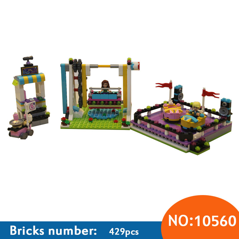 AIBOULLY 10560 Friends Amusement Park Bumper Cars building Blocks Bricks Toys Girl Game Toys for children House Gift 41133