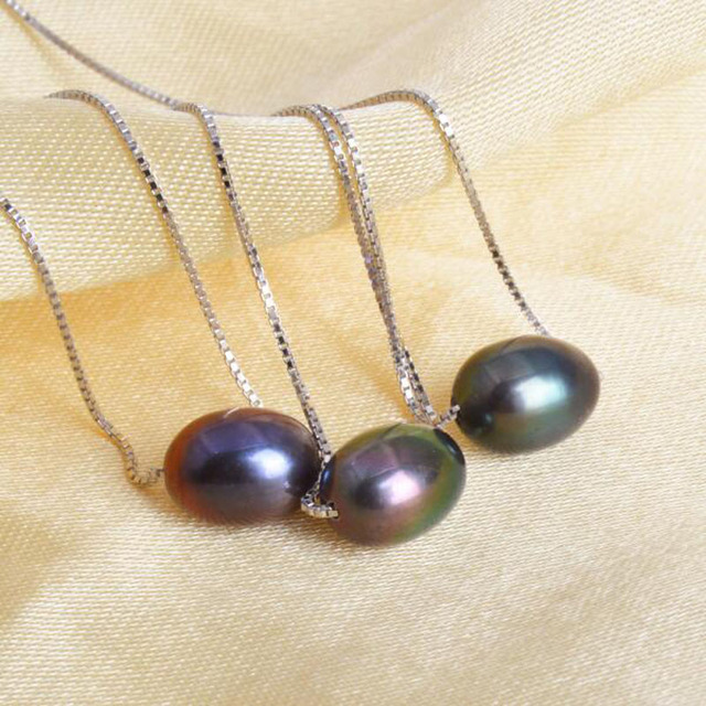 ASHIQI 925 d'acqua dolce d'argento della perla collane del pendente di 7-8mm naturale gioielli di perle